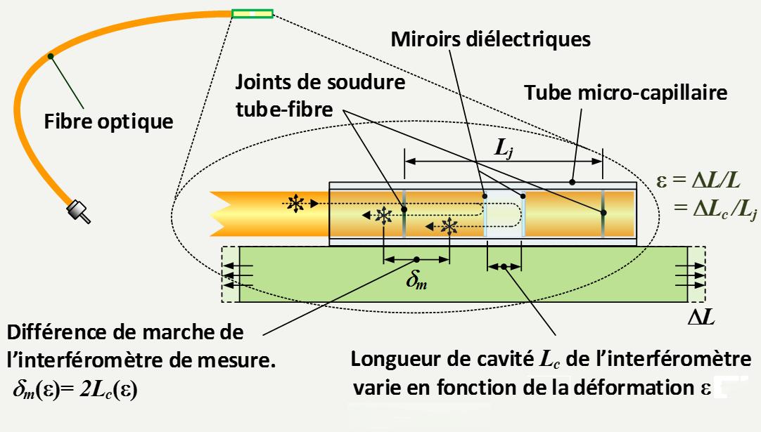 schema du capteur d'allongement par fibre optique